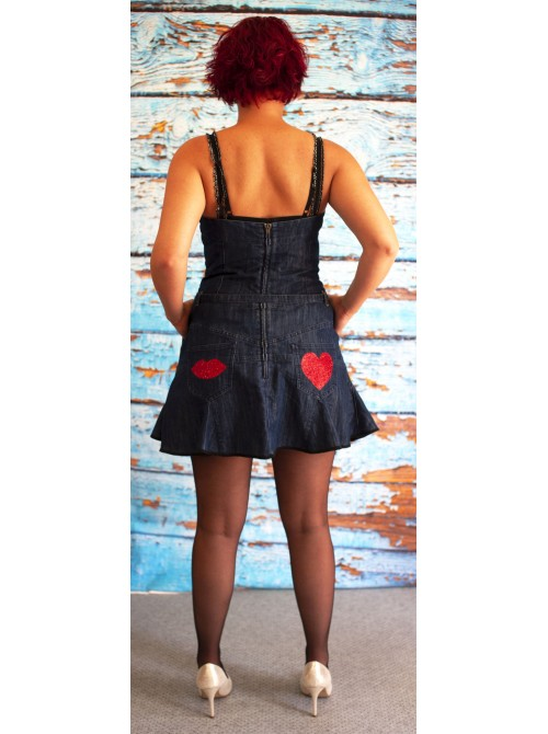 ROBE JEANS COEUR ARGENT